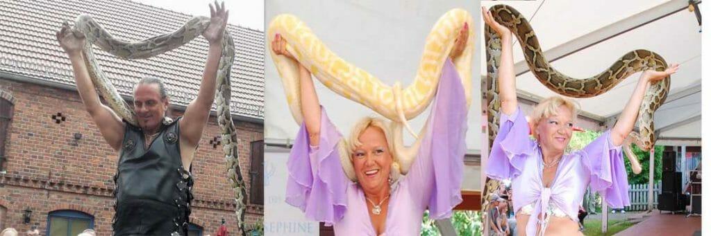 Unterhaltungskünstler mit Schlangenshow, Schlangentanz,Tiershow