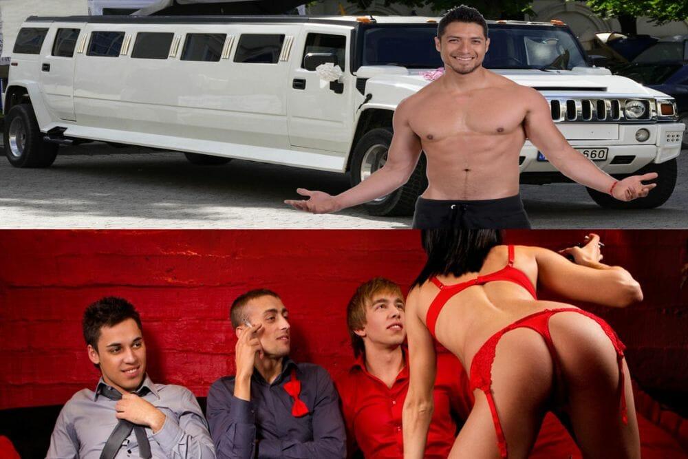 Erotische Unterhaltungskünstler als Stripper oder Stripperin mit Polizeistrip
