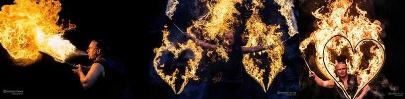 Unterhaltungskünstler mit Feuershow